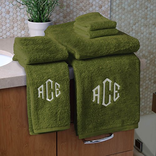 Personalized Monogrammed Decorative Bath Linens for Home, Office, and Gifts. Hotel Collection 100% USA Made 6-Piece Towel Set - Cypress Green - 2 Bath, 2 Hand & 2 Wash Towels. Luxurious Boutique Style by 1888 Mills