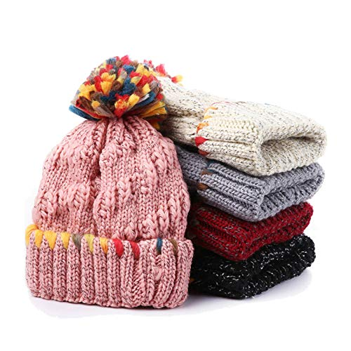 Aooaz Wool Hat Warm Hat for Winter Hair Ball Knitting Stripes Hats Womens Hat -