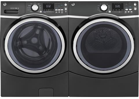 GE Diamond Gray Front Load Laundry Pair with GFW450SPKDG 27″ Washer and GFD45ESPKDG 27″ Electric Dryer