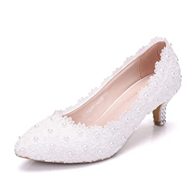 """Dressfirst Women's Bridal Stiletto Heel Closed Toe Pumps with Imitation Pearl Applique, 1.97""""   Pumps"""