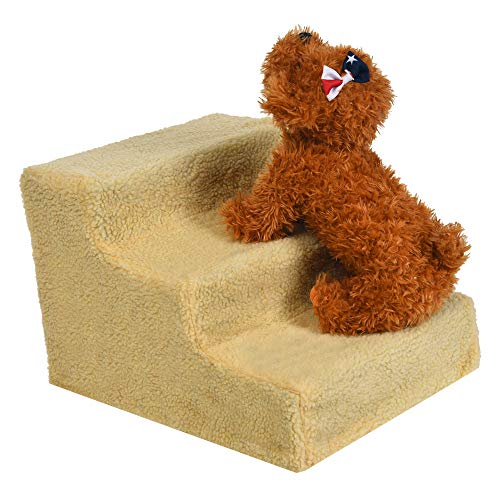 - Hisoul Pet Stairs Soft Cover Foldable Pet Stairs - Soft, Comfortable, Washable, Detachable Pet Bed Stairs Dog Ramp - 3 Steps Ladder , for Older Ailing Pets - Shipped from USA (Beige)
