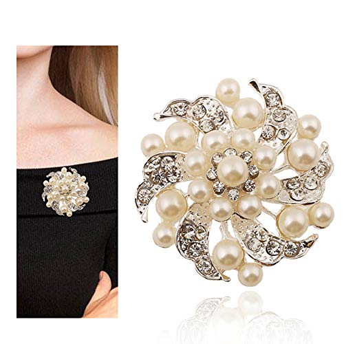 MUZHE Pearl Rhinestone Flower Brooch Baroque Style Party Bouquet Wedding Women Jewelry (White)
