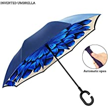 Premium Double Layer Inverted Umbrella For Car By AmbrellaOK Reverse Folding Upside Down C-Shaped Hands Free Handle - Compact Lightweight & Windproof – Ideal Gift Men & Women