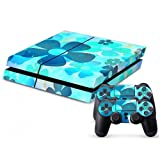 BLUE FLOWER SKIN STICKER FOR SONT PS4 AND CONTROLLER