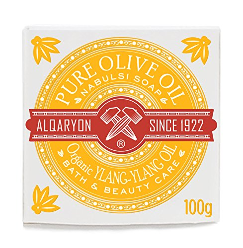 Alqaryon Olive Oil Bar Soap with Organic Ylang-Ylang Essential Oil, Bath & Beauty Care, Pack of 4 100g