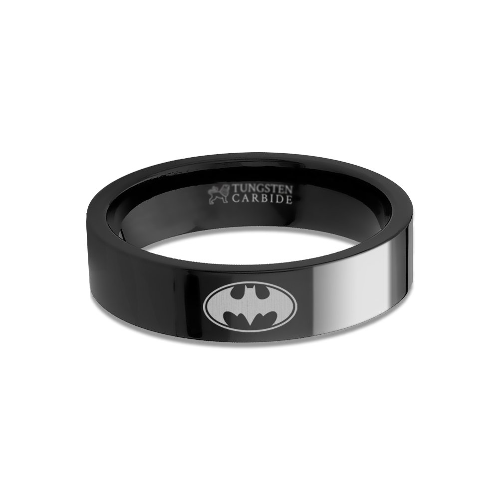 Hanover Jewelers Batman Logo Laser Engraved Black Tungsten Ring, Flat, Polished - 6 mm