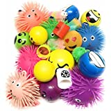 Bottles N Bags 12 Pack +1 bonus ! Stress Relief Balls and Puffer Squeeze Toys (Value Assortment) + Bonus Coil Spring Toy by