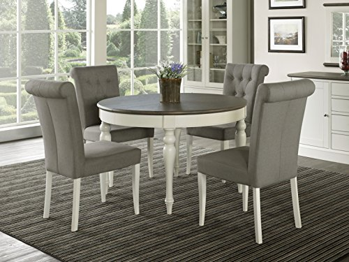 Everhome Designs - Vegas 5 Piece Round To Oval Extension Dining Table Set for 4 (Parsons Chairs)