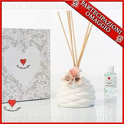 Ingrosso e Risparmio Cuorematto - Difusor de esencias de cerámica blanca con calas de colores, detalles solidarios para comunión, bautizo, boda, con caja de regalo incluida