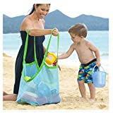 Greenery Lovely Beach Mesh Bag Organizer Sand Away Holder Pouch Laundry Shoes Tote Bags (Swim, Toys, Boating) Plus Size for Family Children Beach Play-Blue For Sale