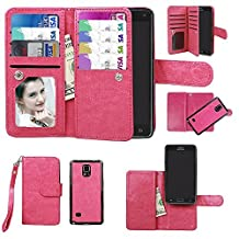 Case for Samsung Case for Galaxy Note 4, xhorizon Premium Leather Folio Case [Wallet Function] [Magnetic Detachable] Fashion Wristlet Lanyard Hand Strap Purse Soft Flip Book Style Multiple Card Slots Cash Compartment Pocket with Magnetic Closure Case Cover Skin ZA5 for Samsung Galaxy Note 4 (N9100) - Rose Red