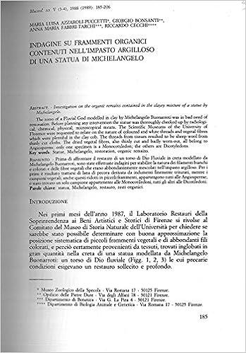 Indagine su frammenti organici contenuti nellimpasto argilloso di una statua di Michelangelo.: AZZAROLI PUCCETTI Maria Luisa - BONSANTI Giorgio - FABBRI ...