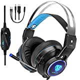 Butfulake Gaming Headset for Xbox One PS4 PlayStation 4 Nintendo Switch PC Smartphone, 3.5mm Stereo Gaming Sound Over-Ear Headphones Noise Cancelling with Mic and LED Light, Black & Blue