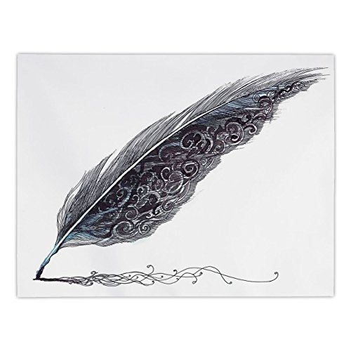 Polyester Rectangular Tablecloth,Feather House Decor,Image of a Dated Classic Quill Pen Feather with Leaf Motifs on One Side,Grey,Dining Room Kitchen Picnic Table Cloth Cover,for Outdoor Indoor (Daisy Pen Beaded)