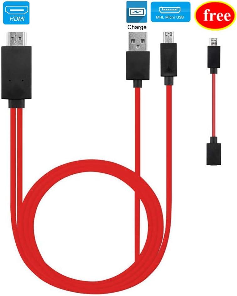Micro USB a HDMI, MHL a HDMI, convertidor Micro USB a HDMI para teléfonos Inteligentes Android, Adaptador de Micro 5 Pines a 11 Pines, Adaptador de Cable MHL Micro USB a HDMI: