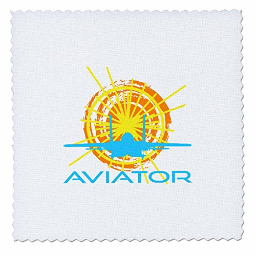 3dRose Alexis Design - Transport - Aviator. Sun, aircraft silhouette, text aviator. White background - 20x20 inch quilt square - Aviator Silhouette