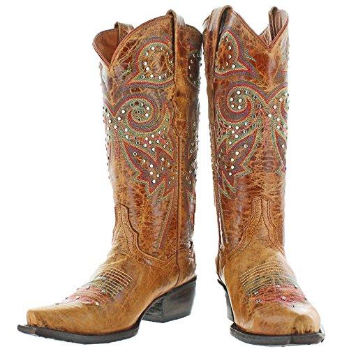 Corkys Poncho Dames Western Cowboylaarzen Leerbruin
