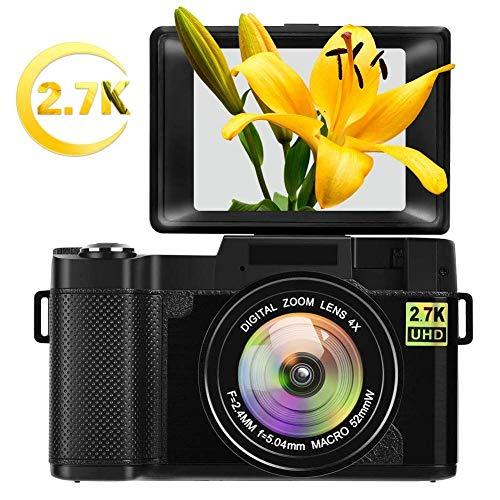 Digital Camera Vlogging Camera for YouTube with Flip Screen 2.7K 24.0MP 3.0 inch Ultra HD WiFi Camera Retractable Flashlight