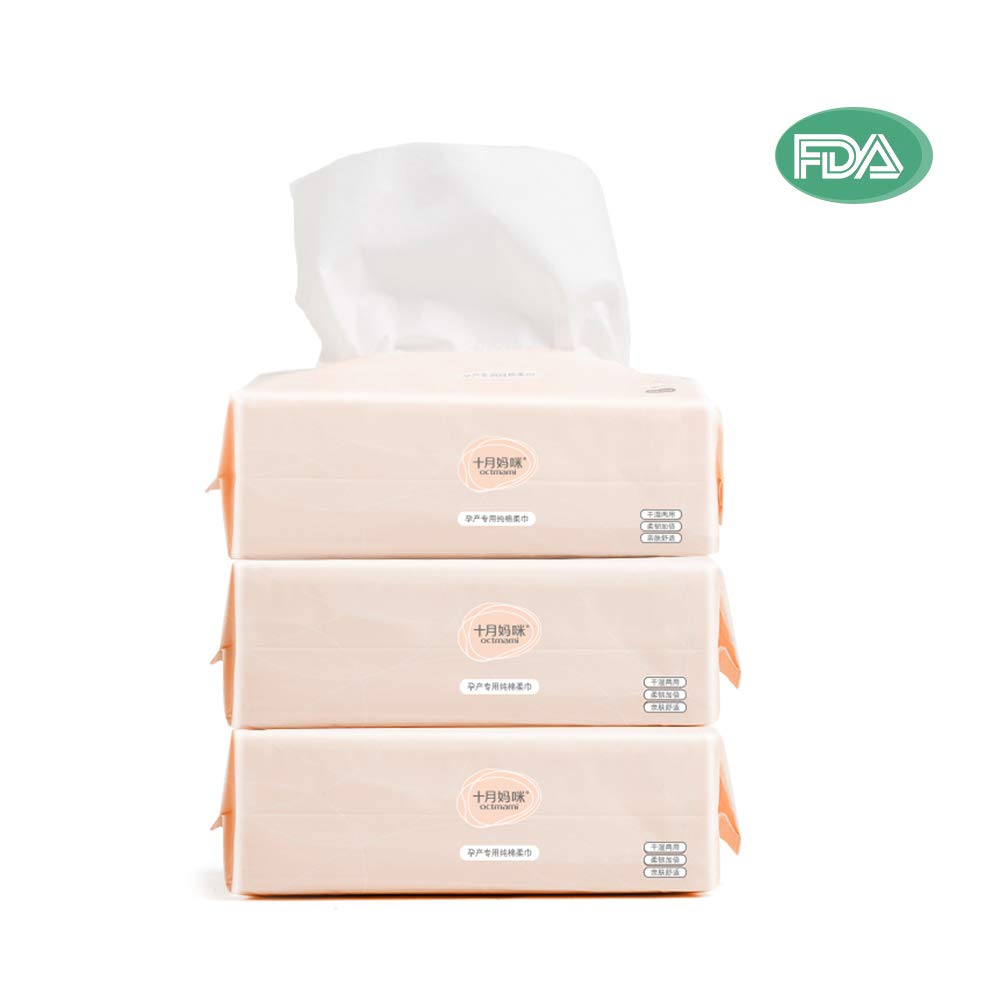 Dry Baby Wipes Octmami Soft Dry Cotton Wipes Baby Tissue Cotton for Sensitive Skin Portable 3 Packs 300 Count