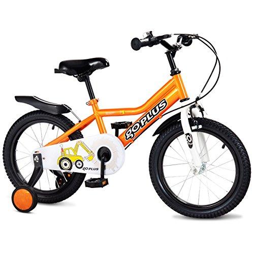 Goplus 16'' Kid's Bike Freestyle Outdoor Sports Bicycle with Training Wheels Boys Girls Cycling (Orange)