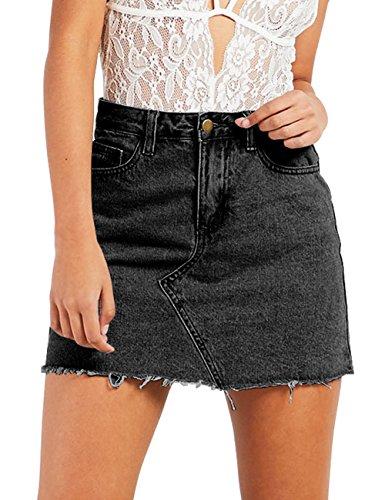 just quella Women's Casual Denim Short Skirt 9110 (S, Black)