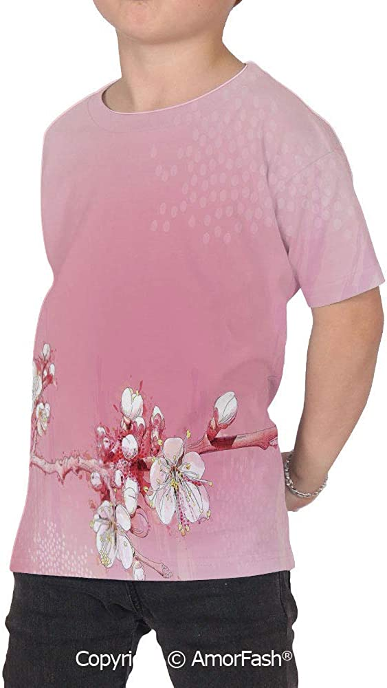 PUTIEN Peach Lovely Printed T-Shirts,Crew Neck T-Shirt of Girls,Polyester,Japanese Insp