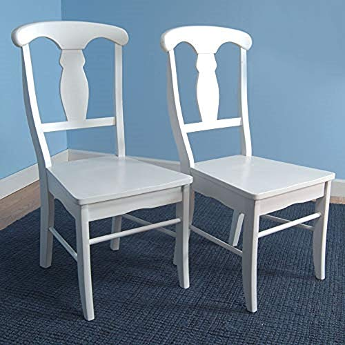 Target Marketing Systems Set of 2 Empire Wooden Dining Chairs, White