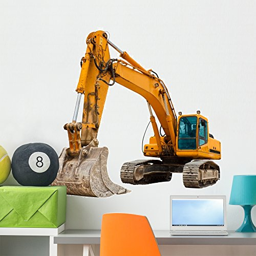 Wallmonkeys FOT-25949067-36 WM228643 Yellow Excavator at Construction Site Peel and Stick Wall Decals (36 in W x 30 in H), Large