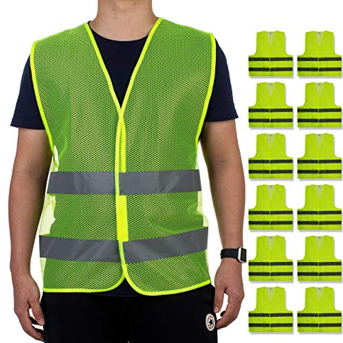 Reflective Safety Vests - Pack of 12 | High Visibility Neon Yellow Mesh | Fits Men and Women | For Construction and Surveyor Work, Security, Emergency, Event Volunteers, Traffic and Parking Workers from Kiloo