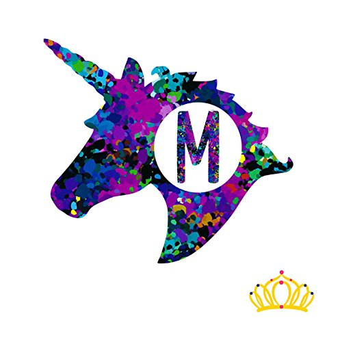 Letter M Monogram Unicorn Decal for Yeti Cup, Tumbler, Laptop, or Car - 3 inch height