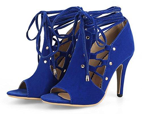 Easemax Womens Sexy Self Tie Legatura Della Caviglia Peep Toe Tacco A Spillo Alto In Finta Pelle Scamosciata Ritaglio Sandali Gladiatore Blu