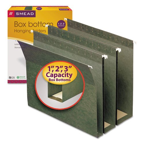 Green Box Bottom Hanging - Three Inch Expansion Box Bottom Hanging File Folders, Letter, Green, 25/Box, Sold as 25 Each