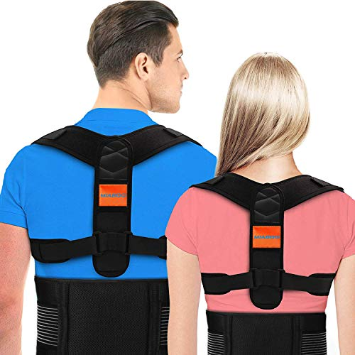 MIABOO Posture Corrector for Men and Women,Upper Back Brace with Shoulder and Lumbar Support Belt,Adjustable Back Straightener and Providing Pain Relief from Neck, Back,Shoulder&Lumbar(Universal)