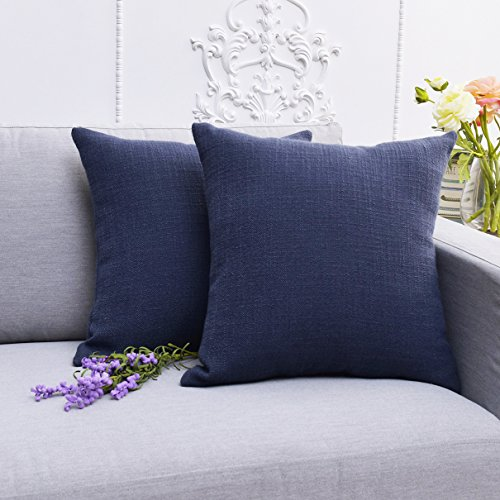 wcase, Throw Pillow Covers Solid Color Imitation Lined Linen Cushion Cover Decorative Pillow Covers for Sofa Square Handmade Euro Sham,18 X 18 inches,Set of 2,Navy ()