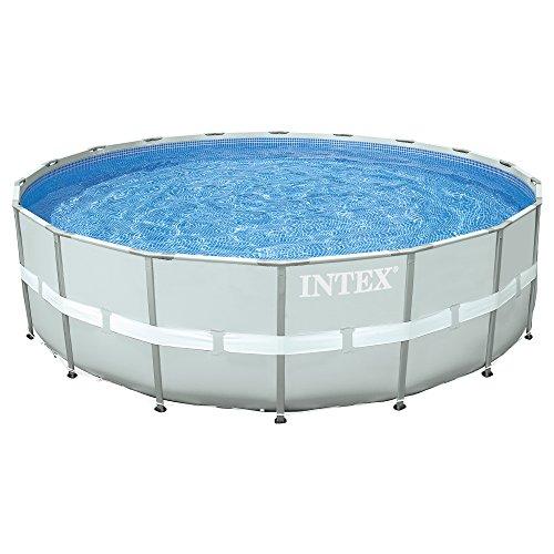 51mirJT5PwL. SS500 Piscina circular de color gris y estructura metálica, tiene capacidad para 26.423 litros/agua Incorpora depuradora de arena de 7.900 litros/hora (no incluida la arena para filtración) Lona fabricada con tecnología Super-Tough: 3 capas laminadas de material extrafuerte de primera calidad que proporciona gran resistencia