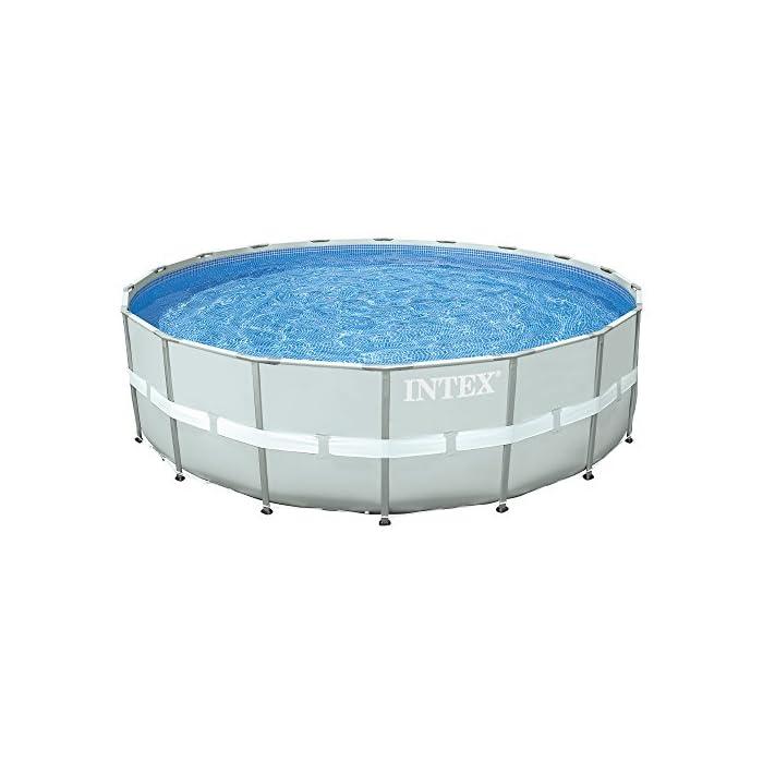 51mirJT5PwL Piscina circular de color gris y estructura metálica, tiene capacidad para 26.423 litros/agua Incorpora depuradora de arena de 7.900 litros/hora (no incluida la arena para filtración) Lona fabricada con tecnología Super-Tough: 3 capas laminadas de material extrafuerte de primera calidad que proporciona gran resistencia