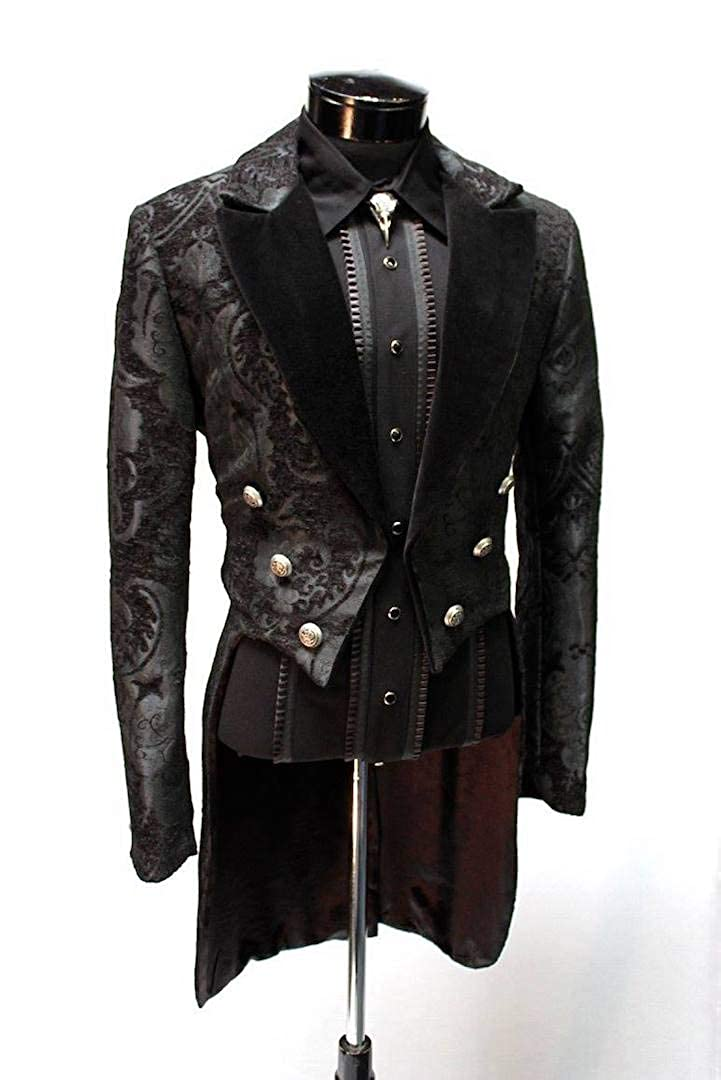 Men's Steampunk Jackets, Coats & Suits Shrine Mens Victorian Gothic Steampunk Formal Tailcoat Black Tapestry $350.00 AT vintagedancer.com