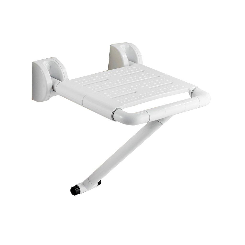 バスルームの折り畳み式の浴室の座席のバスルームの壁滑り止めの壁の椅子 (色 : 白) B07DFGM4XP  白