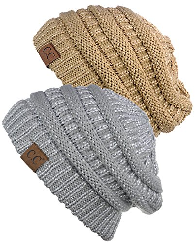 C.C Trendy Warm Chunky Soft Stretch Cable Knit Beanie Skully, 2 Pack Gold/Silver (Gold Knit Beanie)