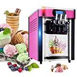 Funwill Ice Cream Machine, 110V/2000W Commercial Soft Ice Cream Making Machine with 3 Flavors Desktop Small Automatic Drum Ice Cream Machine for Restaurants, Bars, Cafes & Bakeries - US Shipping