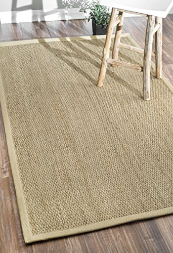 Border Jute Rug (nuLOOM Elijah Seagrass Natural Large Area Rug, 9' x 12', Beige)