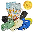 Sunshine Landscape 13-Piece Baby Gift Set - Pack of 6 Cloth Diapers, 6 Bamboo Charcoal Inserts and WetDry Bag, Baby Gift All in One Cloth Diaper Set C