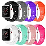 BOTOMALL Compatible With Apple Watch Band 38mm 42mm Classic Silicone Sport Replacement Strap Bracelet for Iwatch Sport Edition all Models Series 3 2 1 S/M M/L Size(8Pack, 38mm S/M)