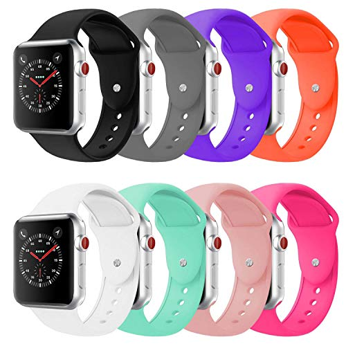 BOTOMALL Compatible With Apple Watch Band 38mm 40mm 42mm 44mm Classic Silicone Sport Replacement Strap Bracelet for iwatch all Models Series 4 Series 3 Series 2 Series 1 S/M M/L(8Pack, 42/44mm S/M)