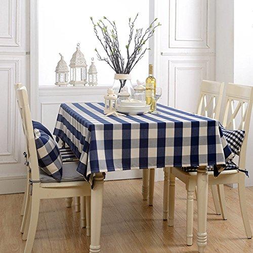 Jhxena Modello A Griglia Impermeabile Panno Tavolo in Stile Giardino con Lenzuola di Cotone Tableclothss Pranzo, Deep blu 110  110Cm