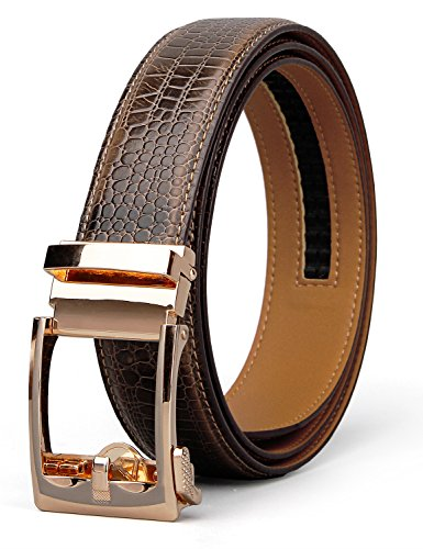 XIANGUO Fashion Leather Belt Automatic Crocodile Belt Genuine Leather Dress Belt for Man with Exquisite Box - Crocodile Belt Strap