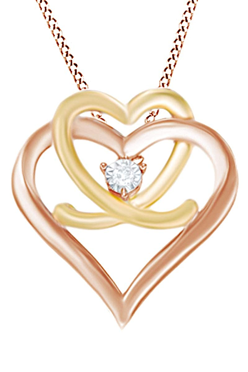 Jewel Zone US Natural Diamond Accent Interlocking Double Heart Pendant Necklace in 925 Sterling Silver