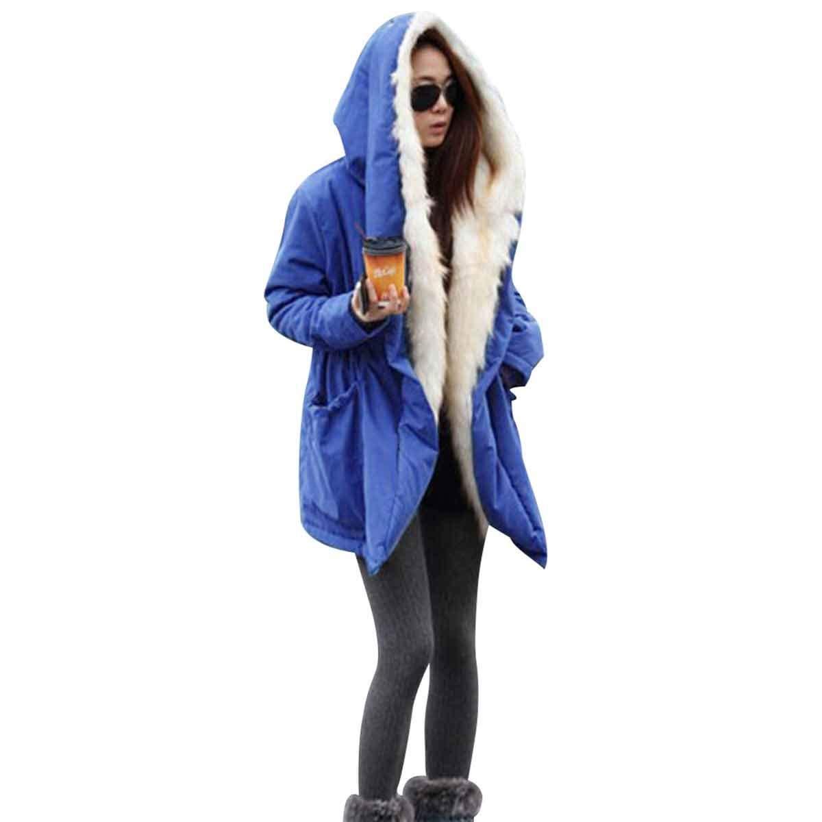 bluee Winter Solid Fur Collar Plus Size Loose Tie Waist Jacket Coat