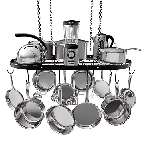 VDOMUS Pot Rack Ceiling Mount Cookware Rack Hanging Hanger Organizer with Hooks (33 x 17 - Kitchen Bakers Rack Bronze