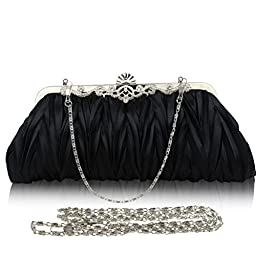 Fashion Road Womens Satin Pleated Evening Clutch Bags Purse Wedding Cocktail Party Handbags Black
